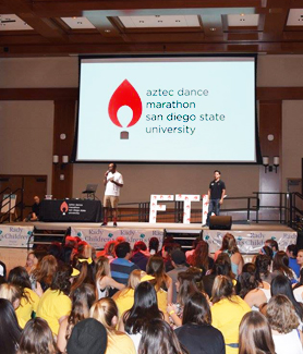 Nearly 1,300 dancers registered for the 15-hour event, which included dancing, games, food and prizes. (Credit: Aztec Dance Marathon)