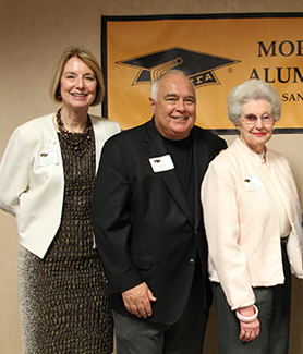 From left to right: Mary Ruth Carleton, Ron Fowler, Betty Peabody, Seraphina Solders and SDSU President Elliot Hirshman. (Credit: Jane K. Smith)