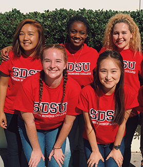 Member of the Susan and Stephen Weber Honors College pose for a photo on the SDSU campus.