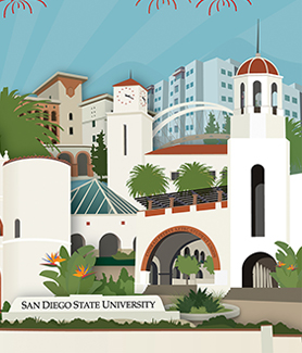 SDSU has raised over $750 million to benefit our students, faculty and staff. (Illustration: Courtney Harmon)