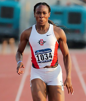 SDSU sprinter Ashley Henderson qualified for two events in this weekend