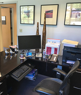 The desk of James Tarbox, executive director for Career Development and Services