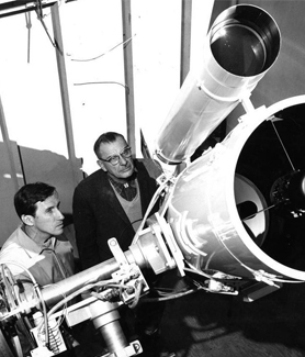 Dr. Burt Nelson (left) and Dr. Clifford Smith at the Mount Laguna Observatory. (Credit: SDSU Special Collections)