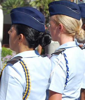 Women in the U.S. military at a ceremony on the SDSU campus.