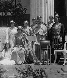 "The cast of ""Admetus"" poses for a photograph in front of the Normal School main building in 1914. (Credit: SDSU Special Collections)"