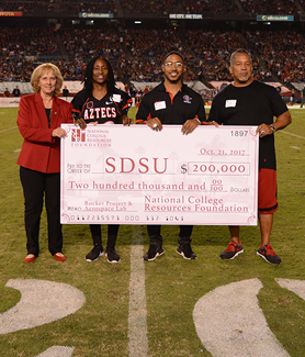 From left to right: SDSU President Sally Roush, NCRF president Theresa Price, Chase Price (