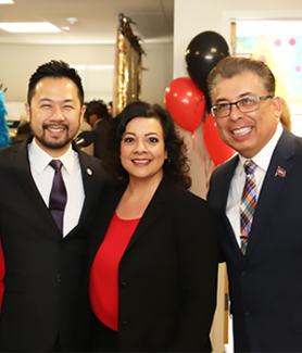 From left to right: Associate Vice President for Student Affairs Tony C. Chung, EOP Director Miriam C. Castañón and Vice President for Student Affairs Eric Rivera