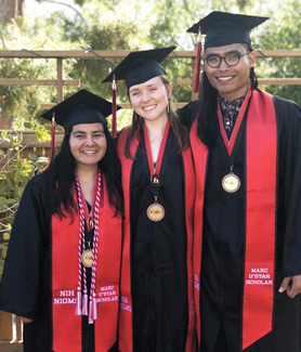 Left to right: Elena Arroyo, Madison Kennedy and Rifqi Affan received NSF fellowships after participating in SDSU's Maximizing Access to Research Careers program.