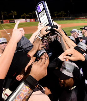 SDSU notched a 14-5 victory over No. 4-seeded UNLV to win the 2018 Mountain West Tournament. (Photo: Ernie Anderson/GoAztecs)
