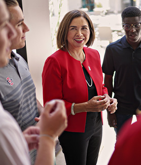 SDSU President Adela de la Torre with students
