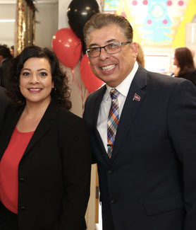 Vice President for Student Affairs Eric Rivera (far right) poses alongside former SDSU President Sally Roush and colleagues at the Undocumented Resource Area formal opening in May 2018.