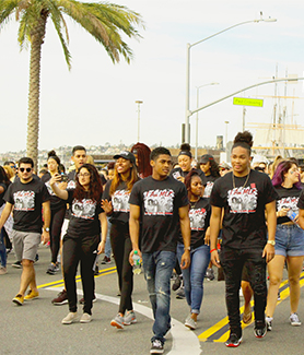 Students, faculty, staff, alumni and their families represent SDSU in Martin Luther King Jr. Day Parade.Students, faculty, staff and alumni represent SDSU in Martin Luther King Jr. Day Parade.