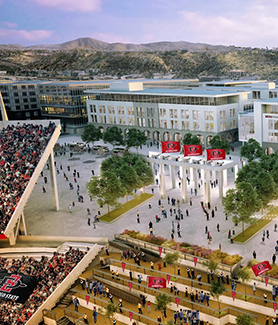 Looking south from Aztec Stadium to SDSU Innovation District