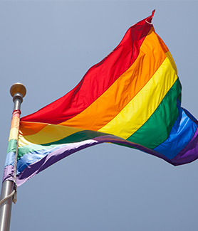 The flag symbolizes the diversity of sexual orientation and gender identities on campus.