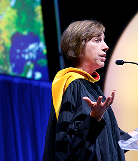 "Ellen Ochoa delivered a lecture, ""From San Diego to Space,"" after receiving an honorary doctorate from SDSU. (Photo: Carol Sonstein)"