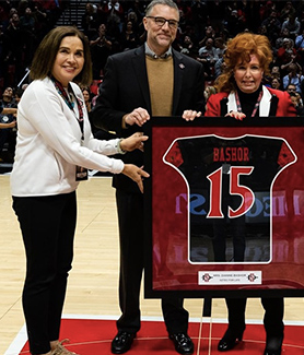 From left to right: SDSU President Adela de la Torre, SDSU Athletic Director John David Wicker, Mrs. Dianne L. Bashor
