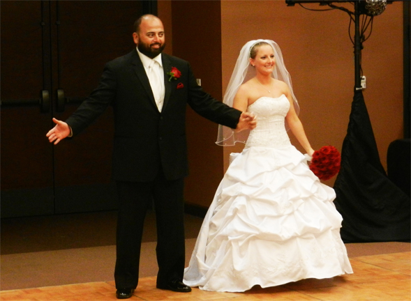 Peter Salas, '09, and Jeanine Walker, '11, at their wedding.