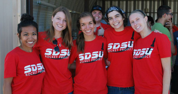 SDSU engineering students Alexis Mendoza, Jennifer Wood, Ana Morino, Annah Rulon and Vanessa Bundy.