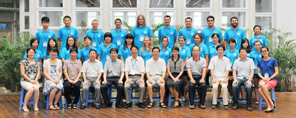 SDSU students partnered with students at Xiamen University.  Large group photo of students sitting and standing.