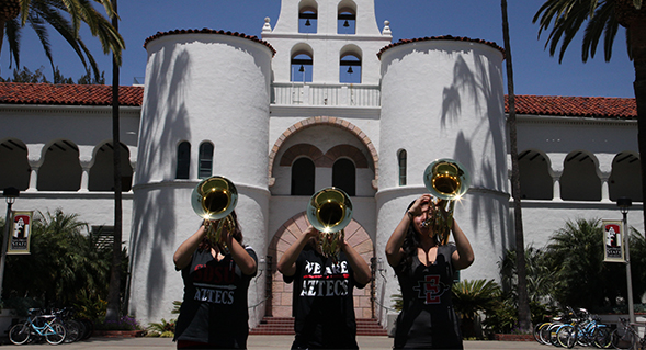The new instruments will be used primarily by the Marching Aztecs.