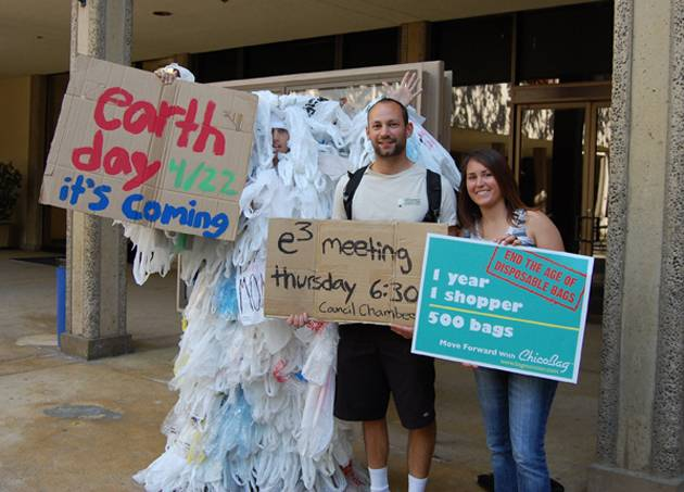 The plastic bag monster and e3 members promote Earth Day.