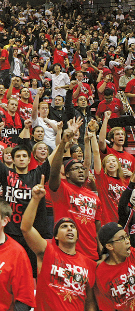 photo: student fans at an Aztec basketball game