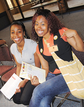 photo: two students attending the conference