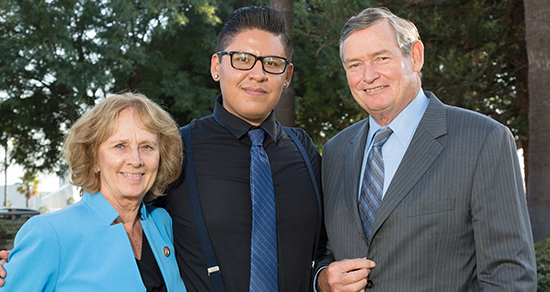 2017 Trustee Emeritus Ali C Razi scholarship recipient Alejandro arias with President Sally Roush and Chancellor Timothy White