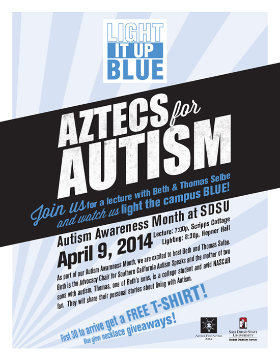 image of autism flier: Light it up Blue. Aztecs for Autism. First 30 to arrive get a Free T-shirt! Blue glow necklace giveaways!