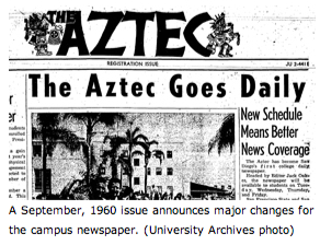 The Aztec goes Daily: September 1960 issue announces major changes for the campus newspaper (University Archives photo)