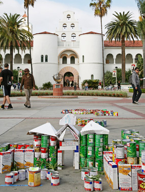 photo: can-struction in the shape of Hepner Hall