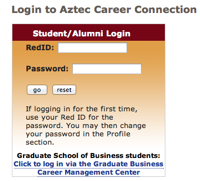 Image: Login to Aztec career connection