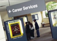 Photo: Career services sign and students