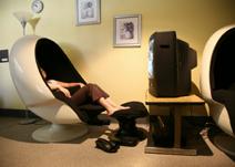 Image: Egg chair in Wellness Center