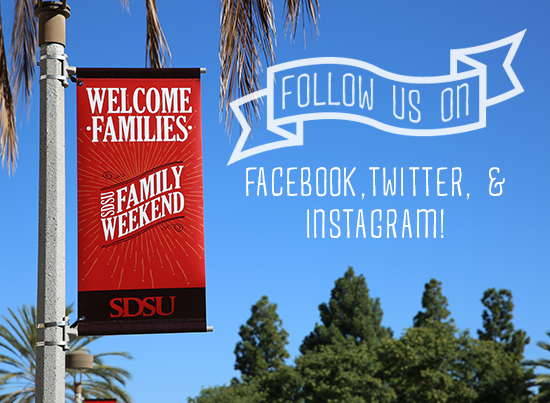 Welcome Families - familyweekend. Follow us on Facebook, Twitter, Instagram!