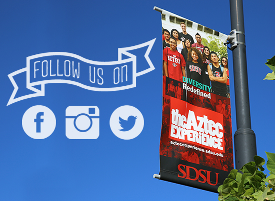 Banner:Aztec Experience. Follow us on Facebook, Twitter, Instagram!