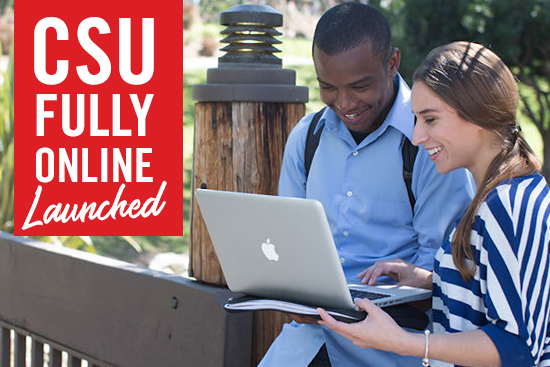 CSU fully online launched - photo of 2 students looking at laptop