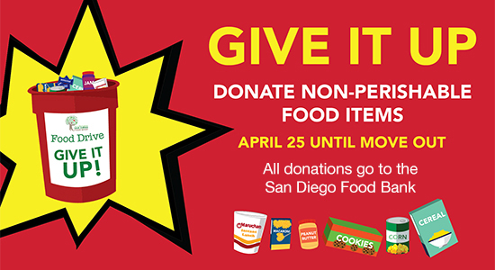 Donate non-perishable food Apr 25 -benefit SD food bank