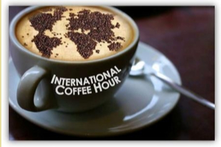 Photo: coffee cup reading international coffee hour