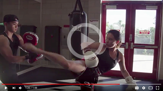freeze screen shot of karnya yoong video kick boxing