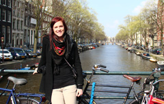 photo: a student poses in Amsterdam