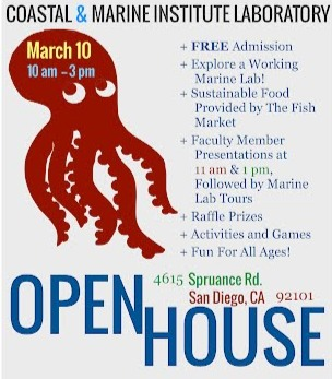 Image: mebsa open house 2013 flier: free admission, explore a working marine lab, sustainable food provided by the fish market, faculty member presentations at 11 am and 1 pm followed by marine lab tours,  raffle prizes, activities and games, fun for all ages
