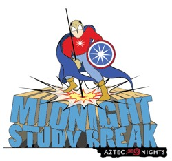 midnight study break Aztec Nights spring 2013 superhero image