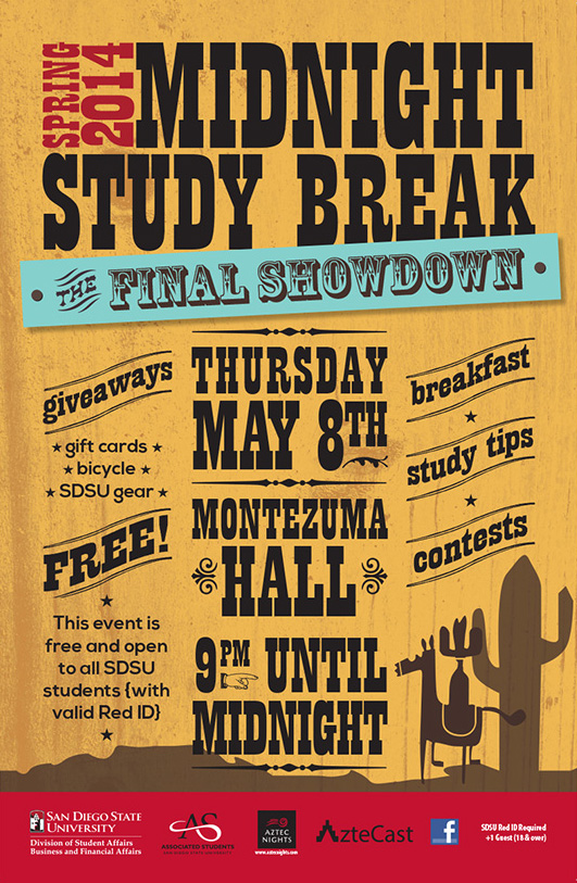 Image of Spring 2014 Midnight Study Break poster