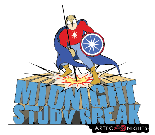 Logo: Midnight Study Break May 2013  (Aztec Nights) - Superhero