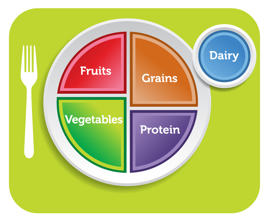 Image: food group plate: healthy fruits, vegetables, protein, grains, dairy