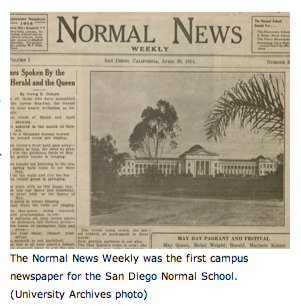 Normal News - June 1915 was the first campus newspaper for San Diego Normal School (University Archives photo)