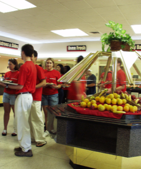 Photo: students in cafeteria with nutritious food choices