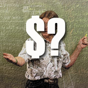 graphic: a dollar sign and a question mark superimposed over a prefessor at a blackboard