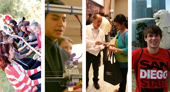 4 images: students with rope working team building, male student in science, student at career fair, and student studying abroad